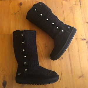 SKETCHERS Womens Boots Midcalf Suede Cable Knit